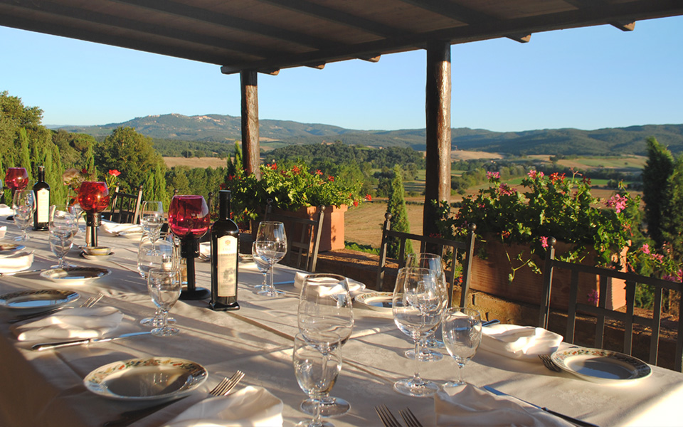 CdB - Dining Terrace with Montalcino View