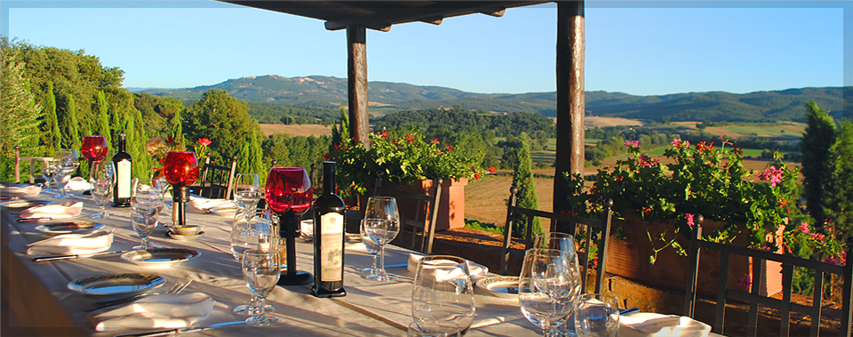 Enjoy Tuscan cuisine and breath-taking views from our terrace.
